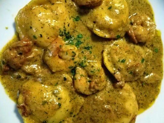 La Forchetta's lobster ravioli con due pesto was five