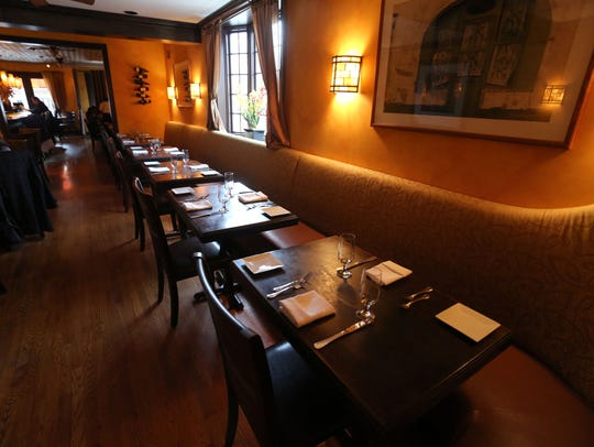 The dining area at Cafe Amarcord on Main Street in
