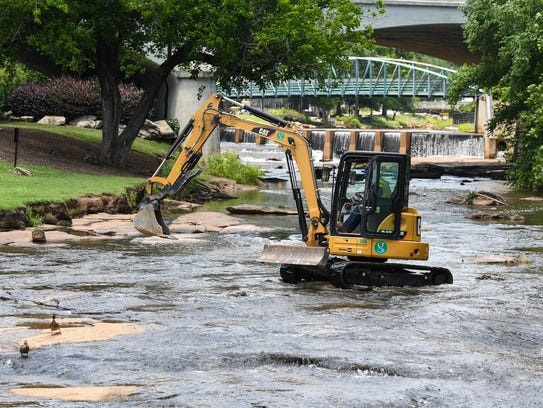 The City of Greenville work on a stream bank restoration