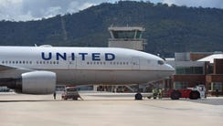 A United Airlines plane parked at Canberra airport