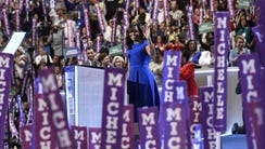 First Lady Michelle Obama in Philadelphia on July 25,