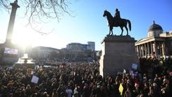 Protesters gather at the Trafalgar Square to take part