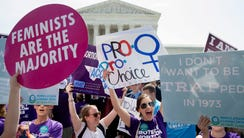 Pro-choice supporters outside the Supreme Court on