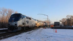 A westbound Empire Builder pauses Nov. 13, 2017, in