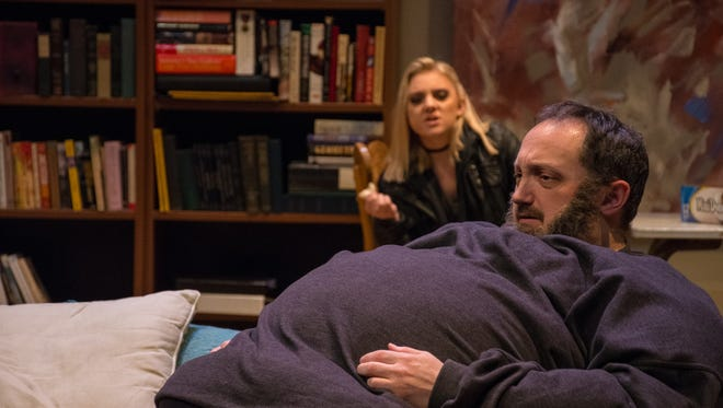 Shawn Knight plays a reclusive, 600-pound gay man named Charlie, who is struggling to reconcile with his estranged teenage daughter (Madeleine Yeary, in background) before it's too late.