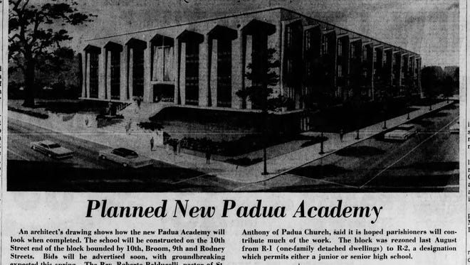 An architect's drawing of Padua Academy before it was built in 1967.