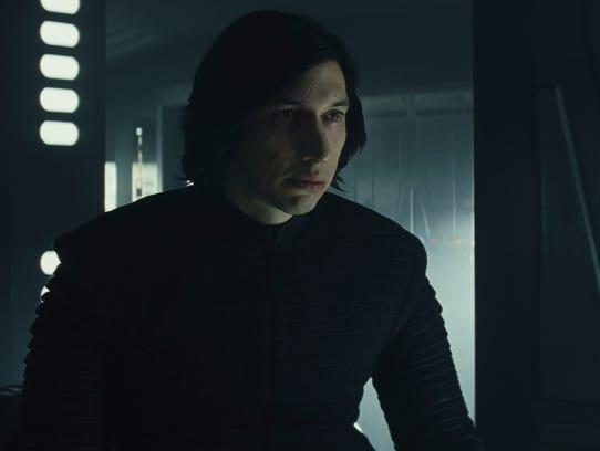 "Adam Driver as Kylo Ren in ""Star Wars: The Last Jedi."""