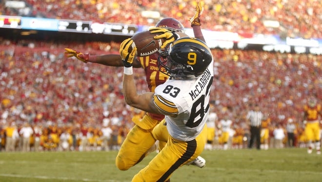 Iowa junior wide receiver Riley McCarron, a former prep athlete from Dubuque Wahlert, pulls in the go-ahead touchdown reception in the fourth quarter against Iowa State during the Cy-Hawk series on Saturday, Sept. 12, 2015, at Jack Trice Stadium in Ames, Iowa.