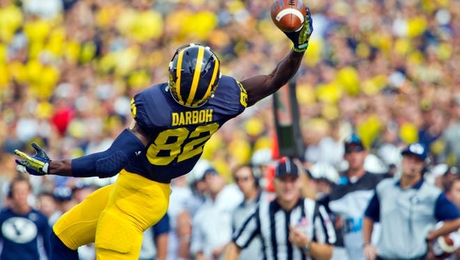 Michigan wide receiver Amara Darboh makes a one-handed catch against BYU in Ann Arbor on Sept. 26, 2015.