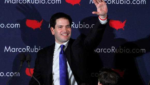 Sen. Marco Rubio, R-Fla., waves after his speech at