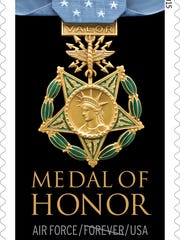 This handout image provided by the US Postal Service shows the forever postage stamp honoring Vietnam Medal of Honor recipients.