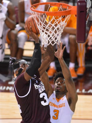 MSU center Schnider Herard posted his second double-double of the season against UT.