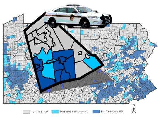 The areas in gray - which rely fully on state police coverage - would be required to pay $25 per person annually to the state under Governor Tom Wolf's proposed 2016-17 budget.
