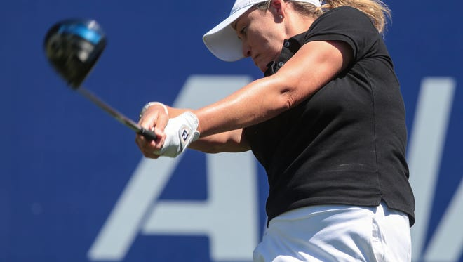 Cristie Kerr tees of on 1 during the 2nd round of ANA Inspiration Friday, March 31, 2017.
