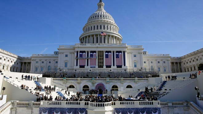 The U.S. Capitol frames the backdrop over the stage during a rehearsal of President-elect Donald Trump's swearing-in ceremony in Washington on  Jan. 15, 2016.
