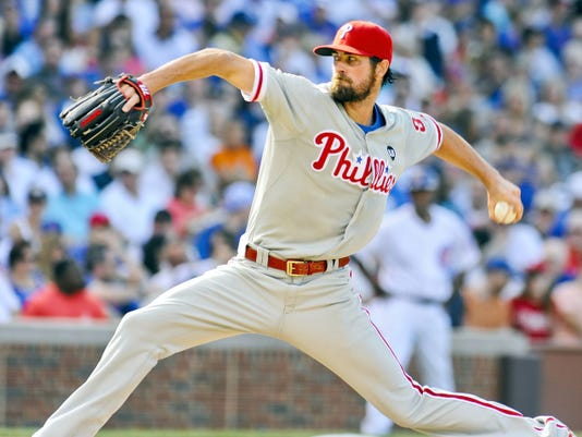Philadelphia Phillies starting pitcher Cole Hamels threw a no-hitter on Saturday, the first time the Chicago Cubs have been no-hit in 50 years. The Phillies won, 5-0.