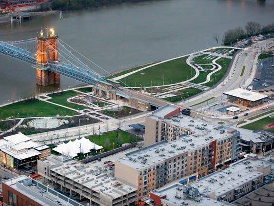 April 4, 2016. The Banks, Roebling Suspension Bridge, Opening Day, Cincinnati Reds, baseball, MLB, Liz Dufour