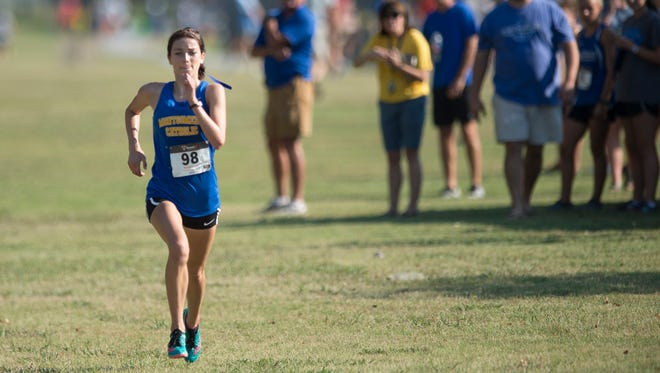 Amaris Tyynismaa runs during the during the Central Alabama Cross Country Invitational on Saturday, Sept. 24, 2016, in Montgomery, Ala.