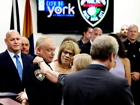 York City Police Chief Troy Bankert is outfitted with