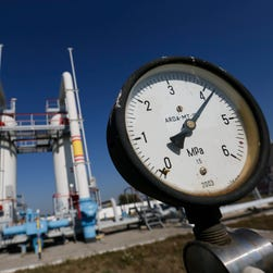 A gas pressure-gauge of the gas-compressor station in Mryn village, about 130 km of Kiev, Ukraine, Oct. 15, 2015.