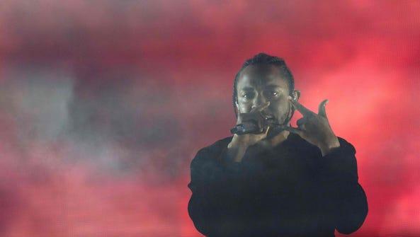 Kendrick Lamar performs at Coachella on April 16, 2017.