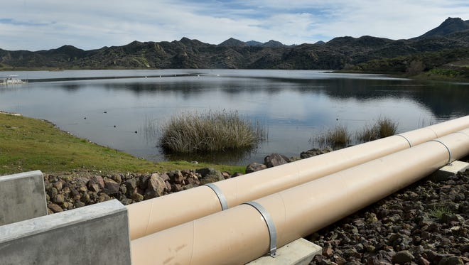 The Las Virgenes Municipal Water District reservoir in Westlake Village was near capacity as Ventura County prepared for an approaching storm recently.