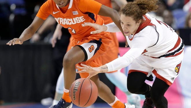 Syracuse's Alexis Peterson, left, and Louisville's Briahanna Jackson, right, chase a loose ball during the second half of an NCAA college basketball game in the Atlantic Coast Conference tournament in Greensboro, N.C., Saturday, March 5, 2016. Syracuse won 80-75.