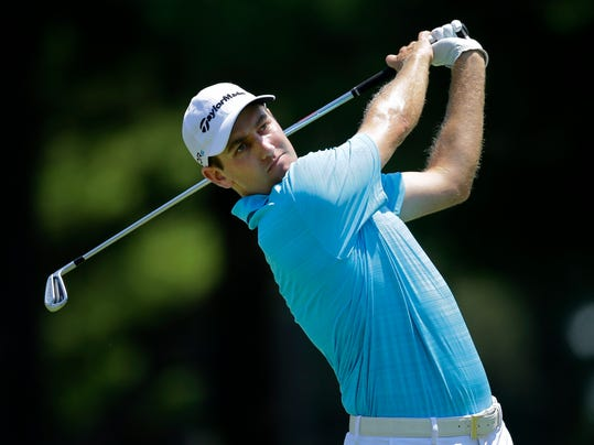 Brendon Todd tees off on the second hole during the final round of the Quicken Loans National PGA golf tournament, Sunday, June 29, 2014, in Bethesda, Md. (AP Photo/Patrick Semansky)
