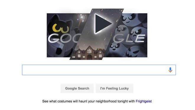 A screenshot of Google's Halloween 2016 logo.