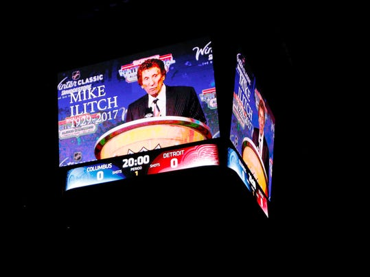 Detroit Red Wings owner Mike Ilitch is honored on the Columbus Blue Jackets scoreboard before the start of an NHL hockey game in Columbus, Ohio, Saturday, Feb. 11, 2017. Ilitch died Feb. 10, 2017. (AP Photo/Paul Vernon)