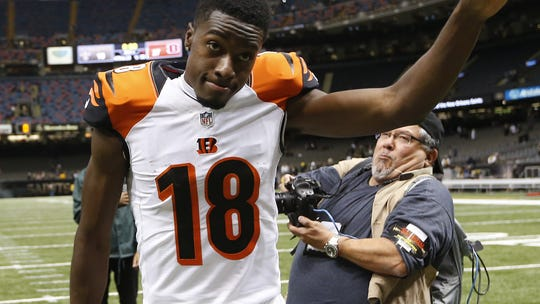 Receiver A.J. Green celebrates the Bengals 27-10 victory