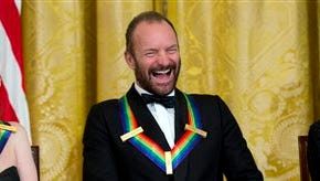 The Kennedy Center Honors Honorees ballerina Patricia McBride, from left, singer-songwriter Sting, and comedienne Lily Tomlin, laugh during a reception in their honor in the East Room of the White House in Washington Sunday hosted by President Barack Obama and first lady Michelle Obama.