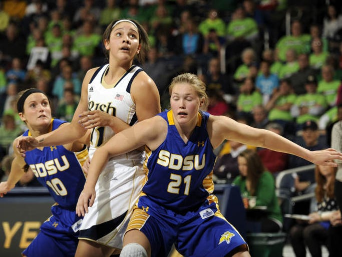 Notre Dame forward Natalie Achonwa, middle, and South Dakota State guards Kerri Young, left, and Clarissa Ober battle for rebound position during the second half of an NCAA college basketball game, Thursday, Jan. 2, 2014 in South Bend, Ind. Notre Dame won 94-51. (AP Photo/Joe Raymond)