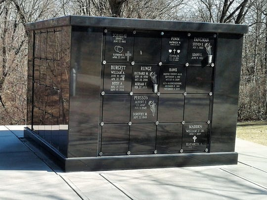One of the newer and more modern structures at Oakland Cemetery is called Cherish Columbarium, which has 64 niches, some large enough to accommodate the cremated remains of two people.