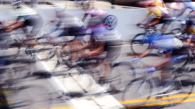 This image from the Division 2 men's USA Cycling Collegiate Road National Championship race was made with a shutter speed of 1/13th of a second.