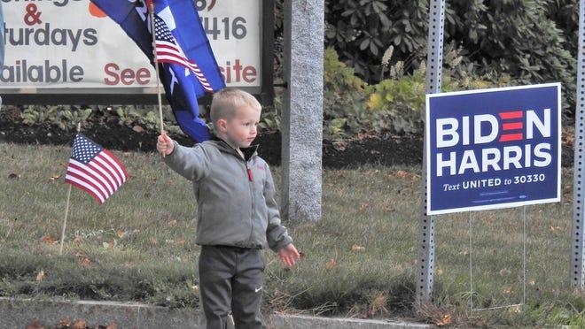 Westminster residents show their support for the Joe Biden-Kamala Harris presidential ticket.