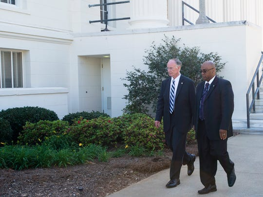 Governor Robert Bentley, left, who is expected to resign,