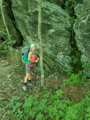 Lisa Maloney, 40, poses for a photo along the Appalachain Trail in August 2016.