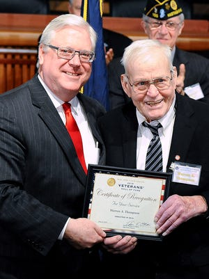 State Sen. Tom O'Mara, R-Big Flats, joins World War II veteran Warren Thompson of Bath at a state Senate Veterans Hall of Fame induction ceremony in Albany.