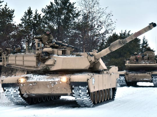 U.S. Marine Corp reservists take part in Winter Training 18 exercises with two Abrams M1A1 tanks Friday, Feb. 9, 2018 at Camp Grayling, MI.
