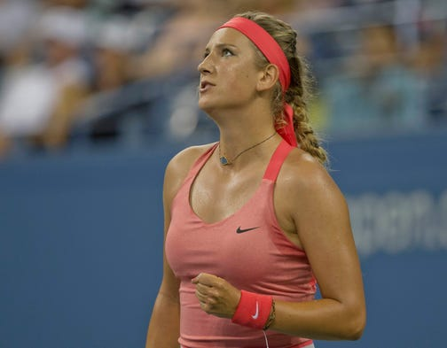Victoria Azarenka of Belarus opened with a 6-0, 6-0 victory against Dinah Pfizenmaier of Germany.