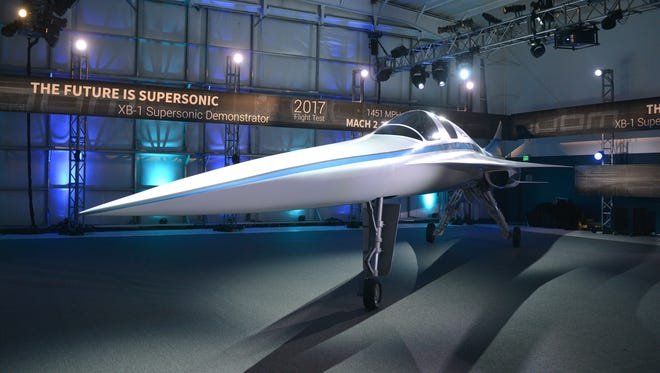 The XB-1 Supersonic Demonstrator is unveiled at the Boom Technologies hangar on Nov. 15, 2016, in Englewood, Colo.