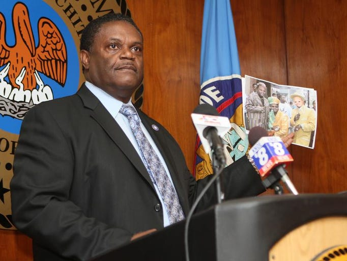 """Monroe Mayor Jamie Mayo holds a meeting at City Hall in response to the Monroe Police Union?s Monday vote of no confidence in Chief Quentin Holmes as its leader. Mayor Mayo showed a photo that had been circulating through the department of three black men that had been altered on a computer to show them wearing what he described as """"racist garments."""""""