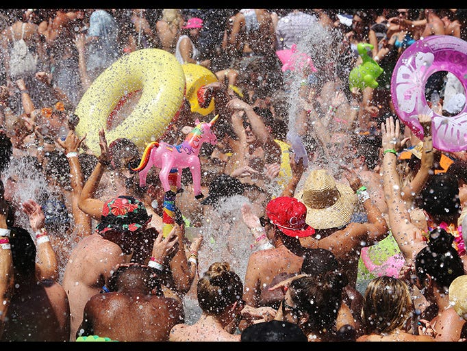 he splash begins during a Splash House party at the Hard Rock Hotel Palm Springs Saturday August 9, 2014.