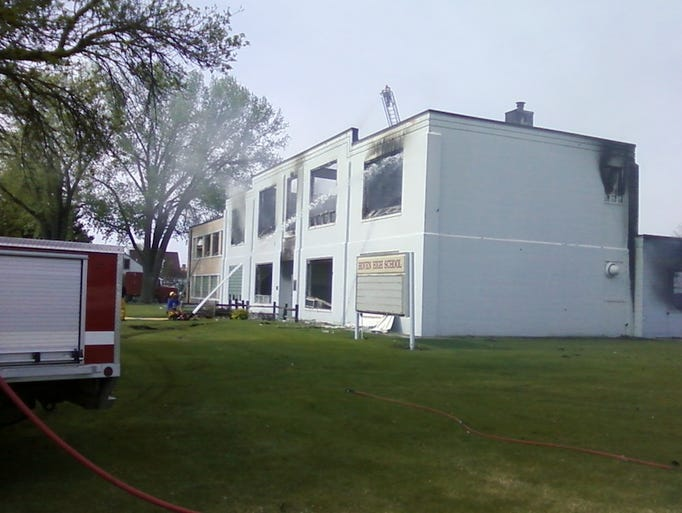 Hoven High school was destroyed in a fire Sunday night.