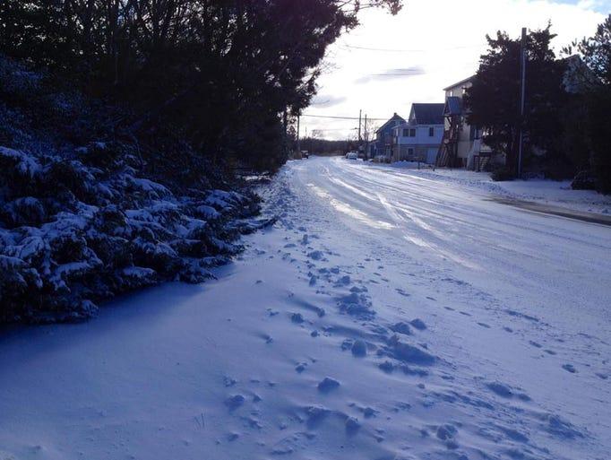 Snow on Cedar Avenue in Lewes Wednesday morning.