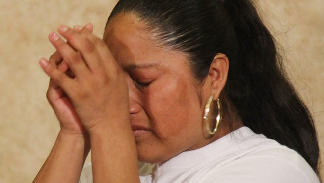 Rita Hernandez, the mother of missing girl Diana Alvarez, is overwhelmed with emotion during a press conference on Tuesday in Fort Myers.