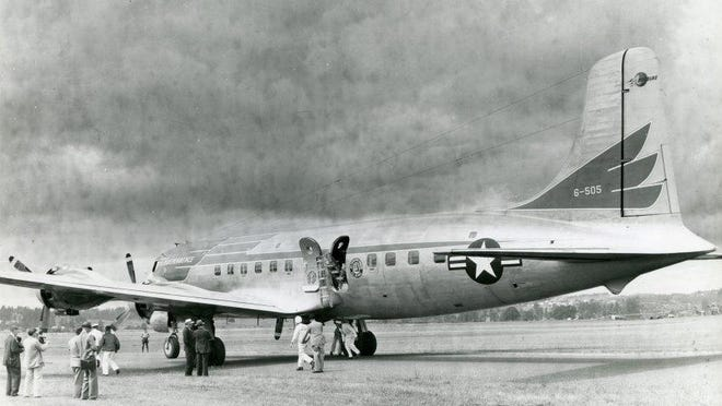 President Truman's Plane, The Independence, is seen on the ground at Salem's McNary field, June 11, 1948.