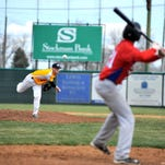Chargers pitcher Jake Lowery delivers to the plate in Sunday's win over the Calgary Blues.