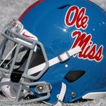 Oct 17, 2015; Memphis, TN, USA; Mississippi Rebels helmet before the game between the Memphis Tigers and the Mississippi Rebels at Liberty Bowl Memorial Stadium. Mandatory Credit: Justin Ford-USA TODAY Sports